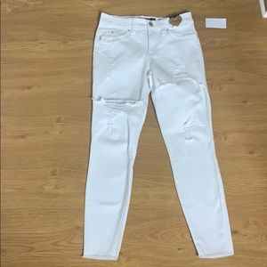 YMI Butt Lift Mid Rise Distressed White Size 7